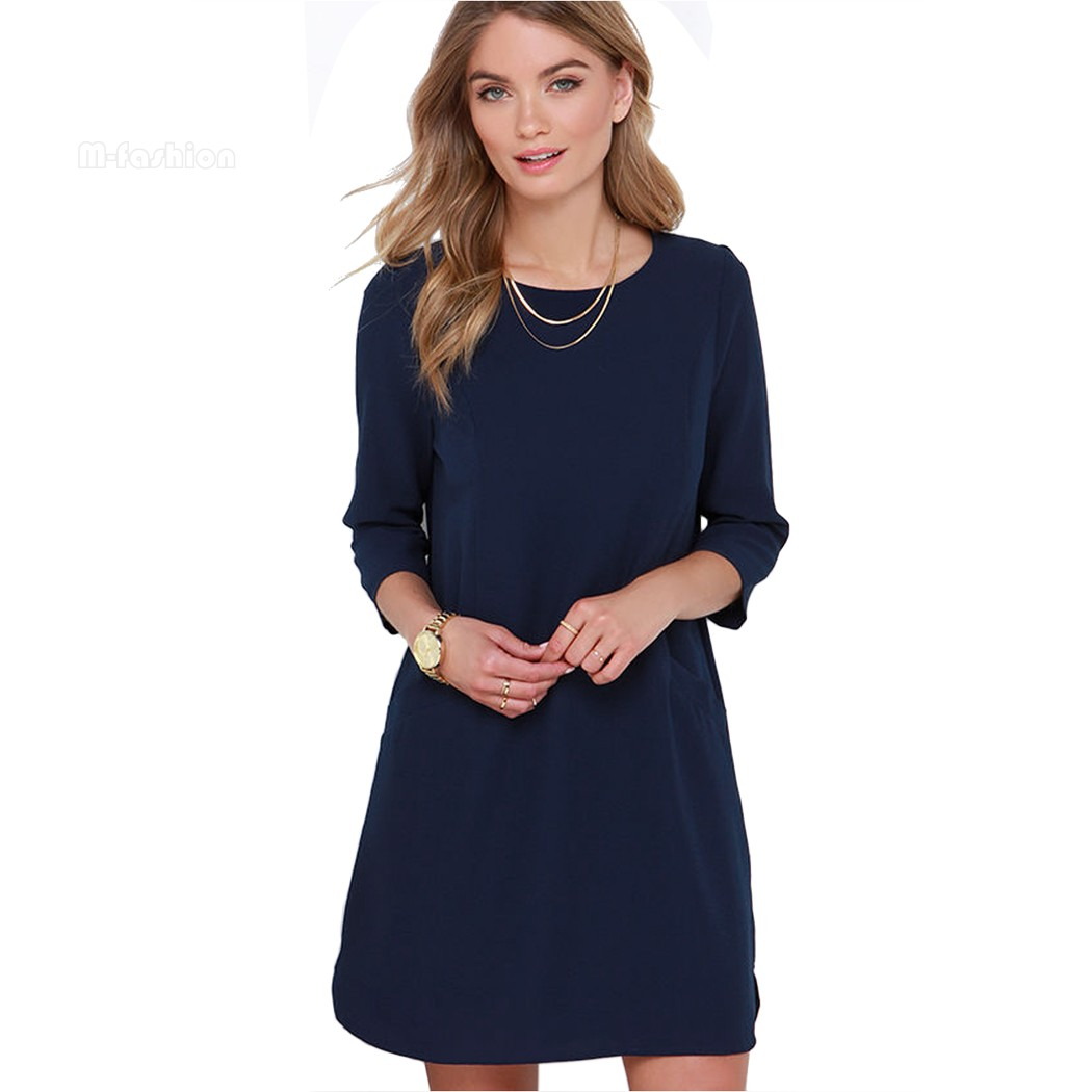 Women Summer Style 2016 Shift Dresses Beautiful Navy Blue ...