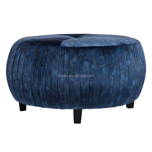 Home Use Round velvet leather Ottoman Pouf