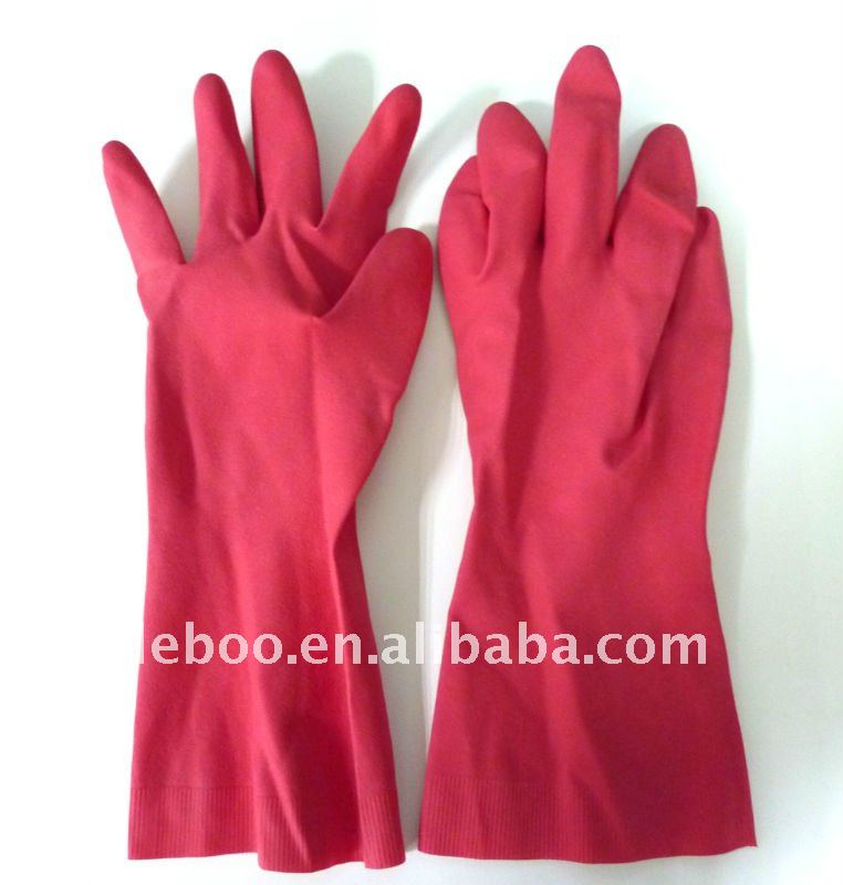 latex household gloves, unlined,rolled cuff,thickness 0.43mm