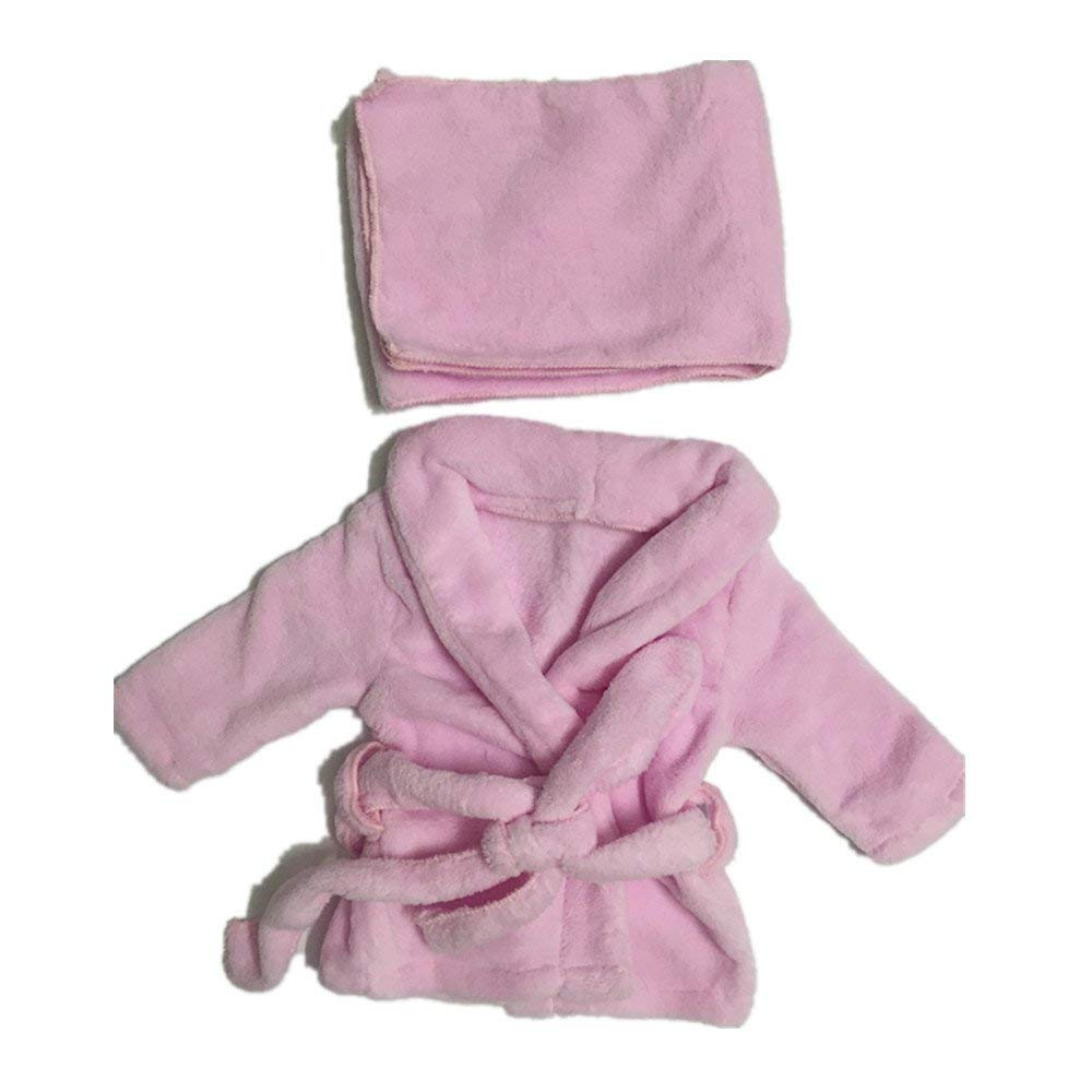 Dvotinst Newborn Photography Props, Soft Photo Prop Bathrobes Outfits for Baby Shooting, 3pcs/Set Costume Clothes for Studio Shoots (Pink, 3-4 Months)