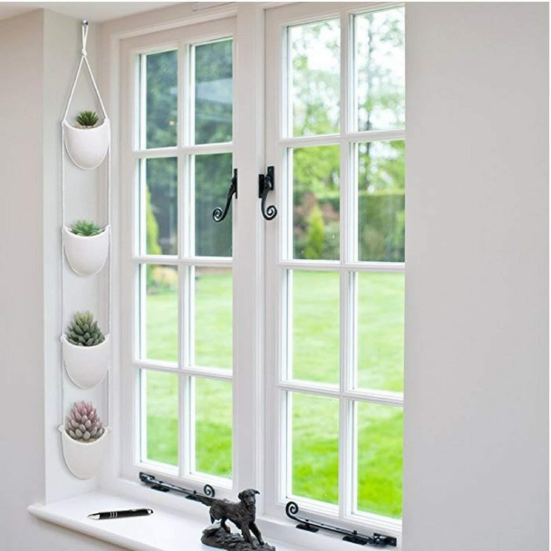 4 Piece Modern Ceramic Hanging Planters for Indoor Plants, Outdoor Planter, Succulent Plants Pots, Decorative Display Bowls (Oval Shape)