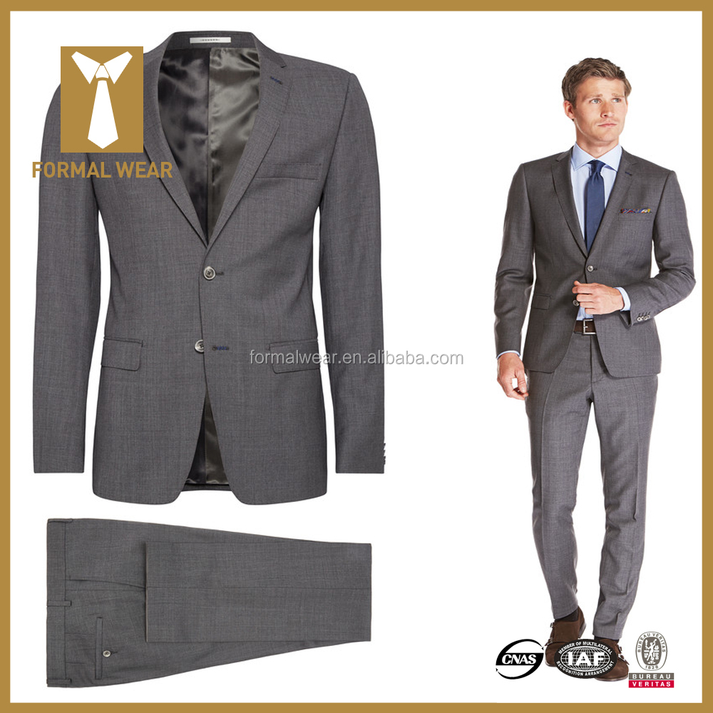 2015 top quality 100% wool grey 2 PC bespoke suit canvassed