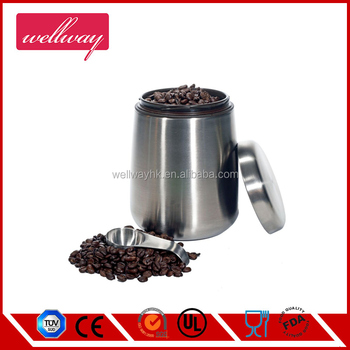 1 Pound Stainless Steel Coffee Storage Container Patented Air Canister Scoop