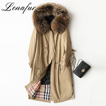 Real Brown Raccoon Fur Collar Coat 90% Down Feather Filling Genuine Cow Leather Fur Parkas Coat