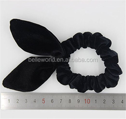 Korea lace rabbit ears Tousheng small fresh personalized leather bow simple rubber band hair rope