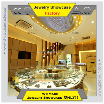 Best seller Round tempered glass counter for luxury mirror jewelry cabinet