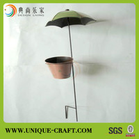 2017 wholesale outdoor umbrella shaped pot stake metal home and garden decoration