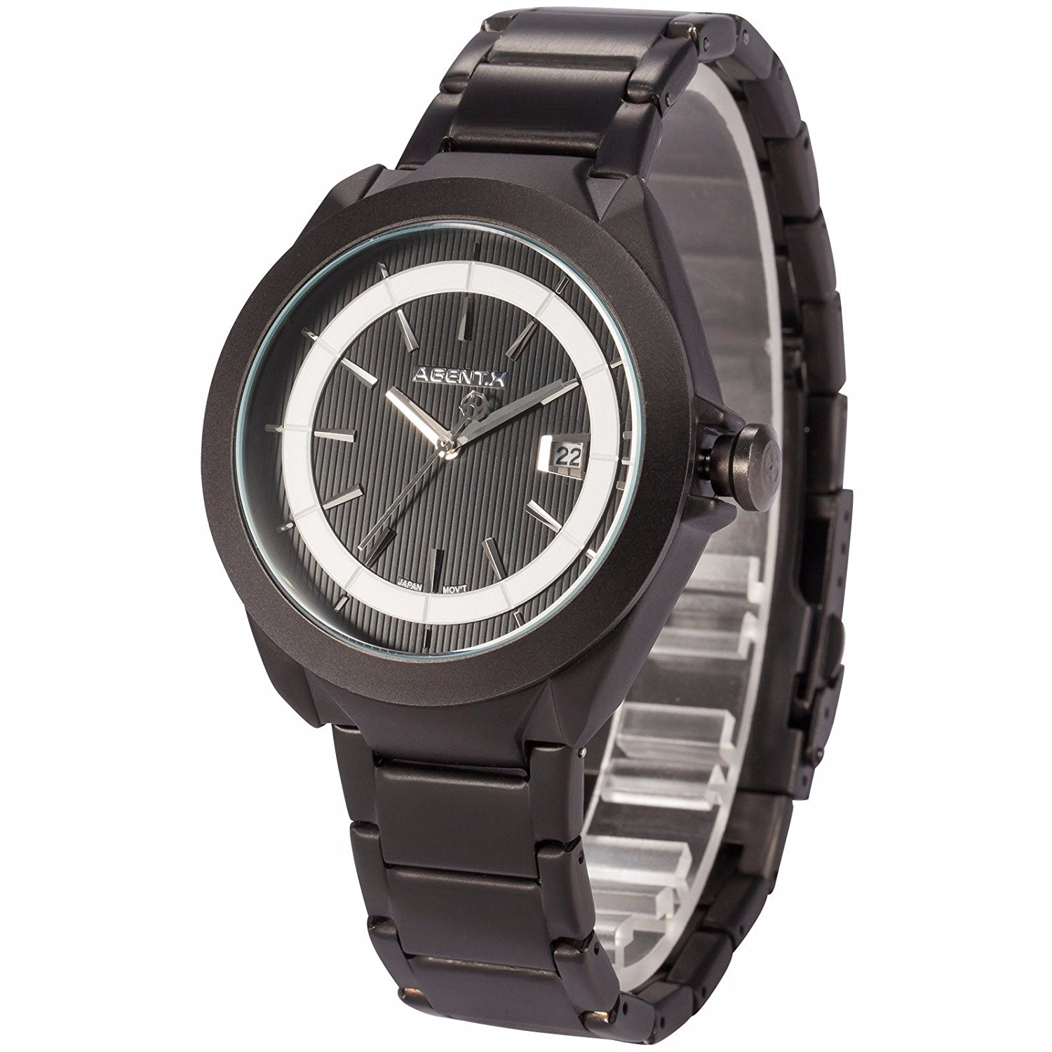 Mix&Rock Agent X Silver Black Case Date Display Stainless Steel Classic Sport Gift Watch