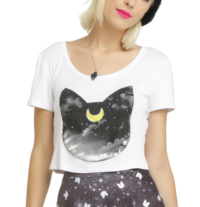 MGOO Cotton Spandex High Street Cat Graphic Women's Cropped T Shirt