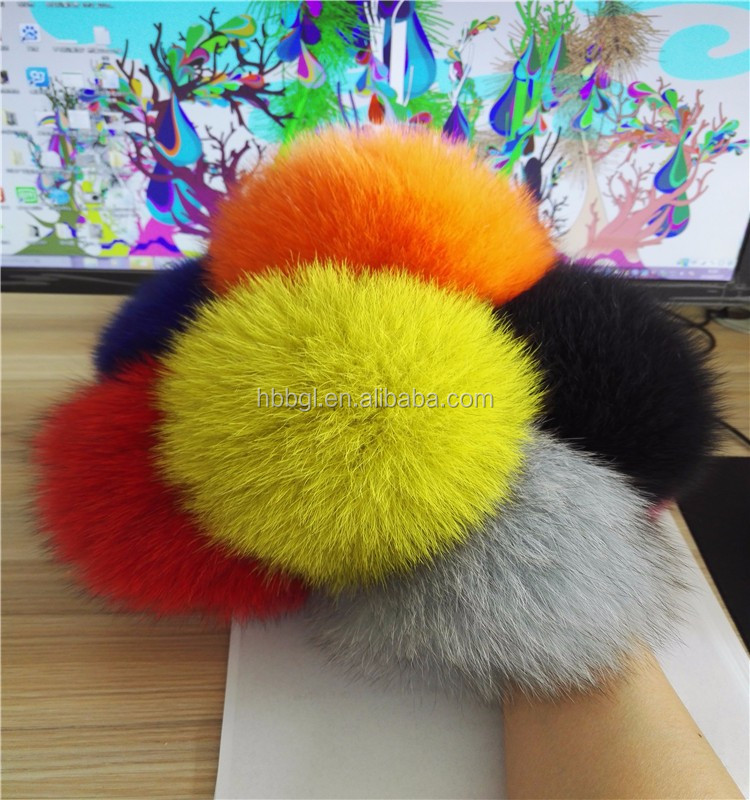 China wholesale heavy hair ball really fox hair bulb key chain / 15 cm fur ball/custom size fox lady handbag pendant