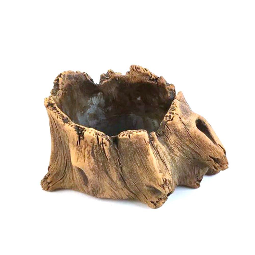 Grandma's Story Vintage Gardening Pots, Creative Imitation Wood Concrete Cactus Succulent Planter Flower Pot (S)
