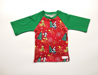 Factory wholesale kid Christmas clothes high quality casual raglan sleeve baby boy t-shirt