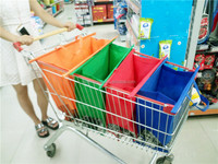 folding reusable four wheel vegetable shopping trolley bag for supermarket, 4 set foldable shopping bag market trolley