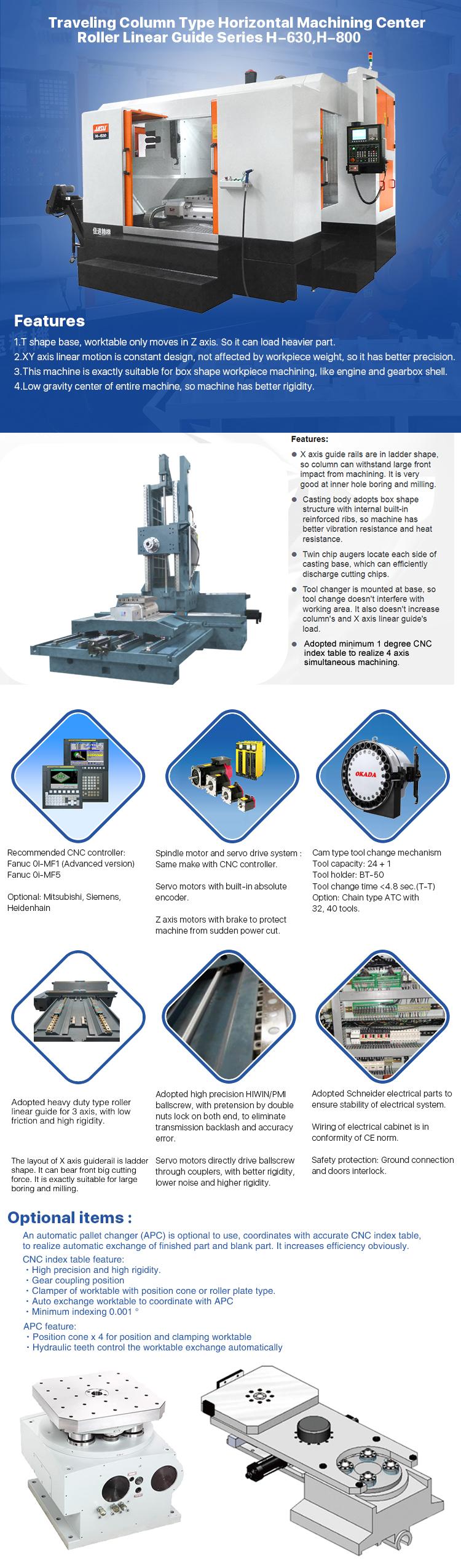JASU H-630 Horizontal CNC Boring Milling Tapping Drilling Machine Center