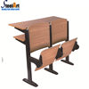 Folding university school desk and chair in line