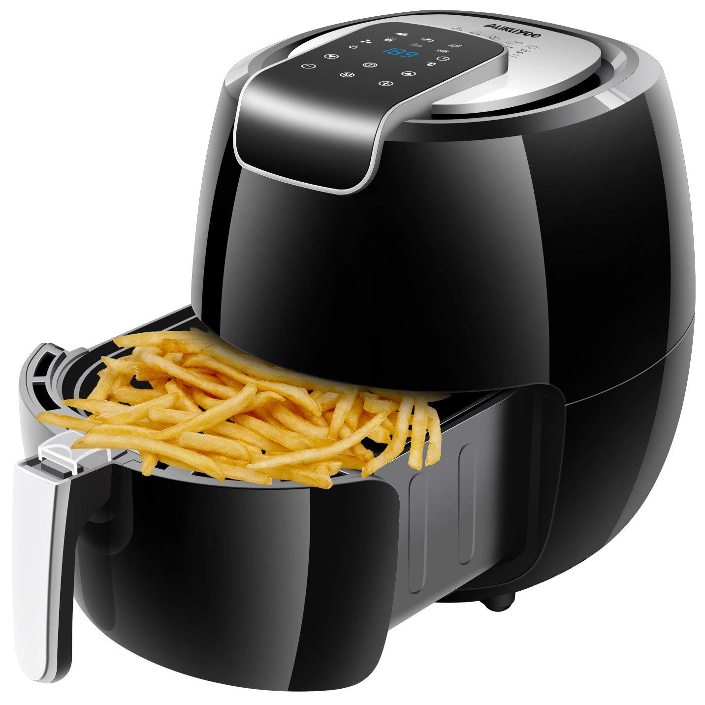 AUKUYEE Air Fryer, Oilless Cooker with Touch Screen Control, Dishwasher Safe, XL 5.6QT / 1800W for Fast, Healthy & Oil-Free Cooking, Recipes (Black)