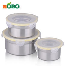Pack of 3 snap seal 6pcs stainless steel tiffin lunch box food plastic container for adults and kids
