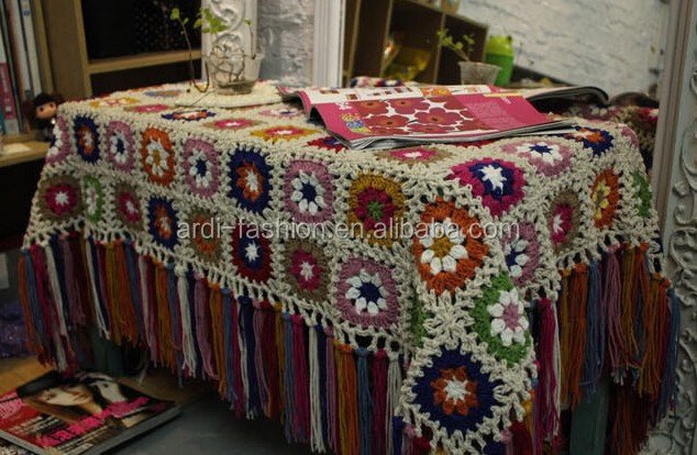 Bohemian Style Flower Pattern Fringed Hand Knitted Table Cloth Buy