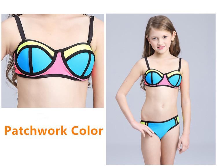 4afcaeaa75 6-15 Years old Children girl swimwear Teenage girl two pieces swimsuit blue striped  bathing suit Girls Bikini kids swim wearUSD 9.18/set