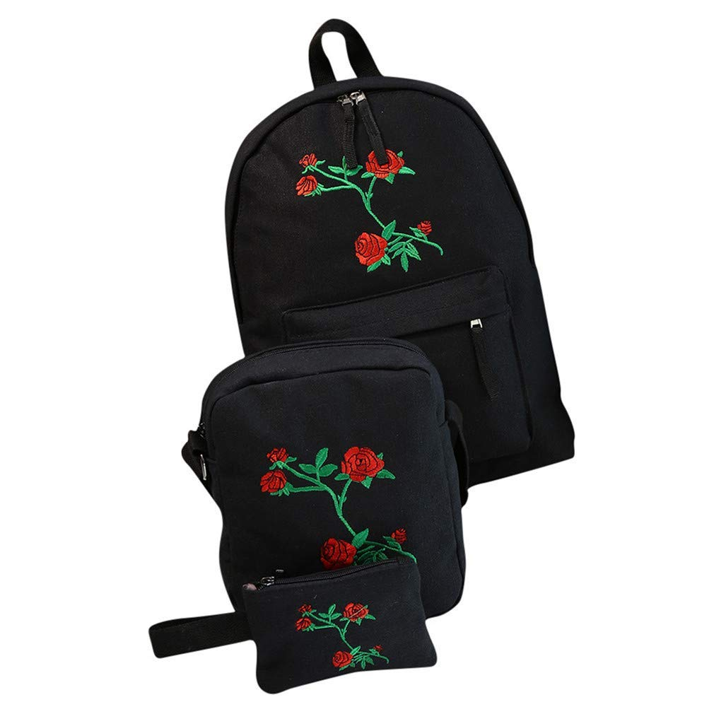 6dfc9bba4c Get Quotations · CNMXNBea 3 Pcs Canvas Backpack Cute Women Rose Embroidery  Backpacks For Teenagers Women s Travel Bags