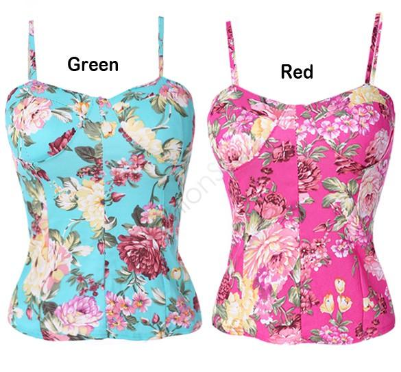 Ретро сельский стиль лето женщины в винтажный цветочный принт спандекс бюстгальтер бюстье растениеводство топы камзол контейнер 35