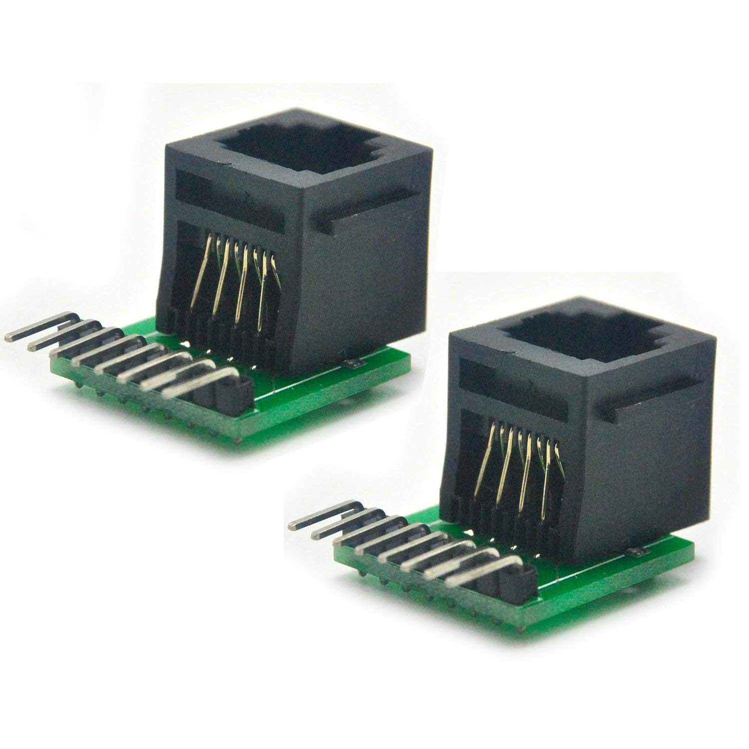 2pcs RJ45 8-pin Connector and Breakout Board Ethernet Kit For Cat5, Cat5e, Cat6