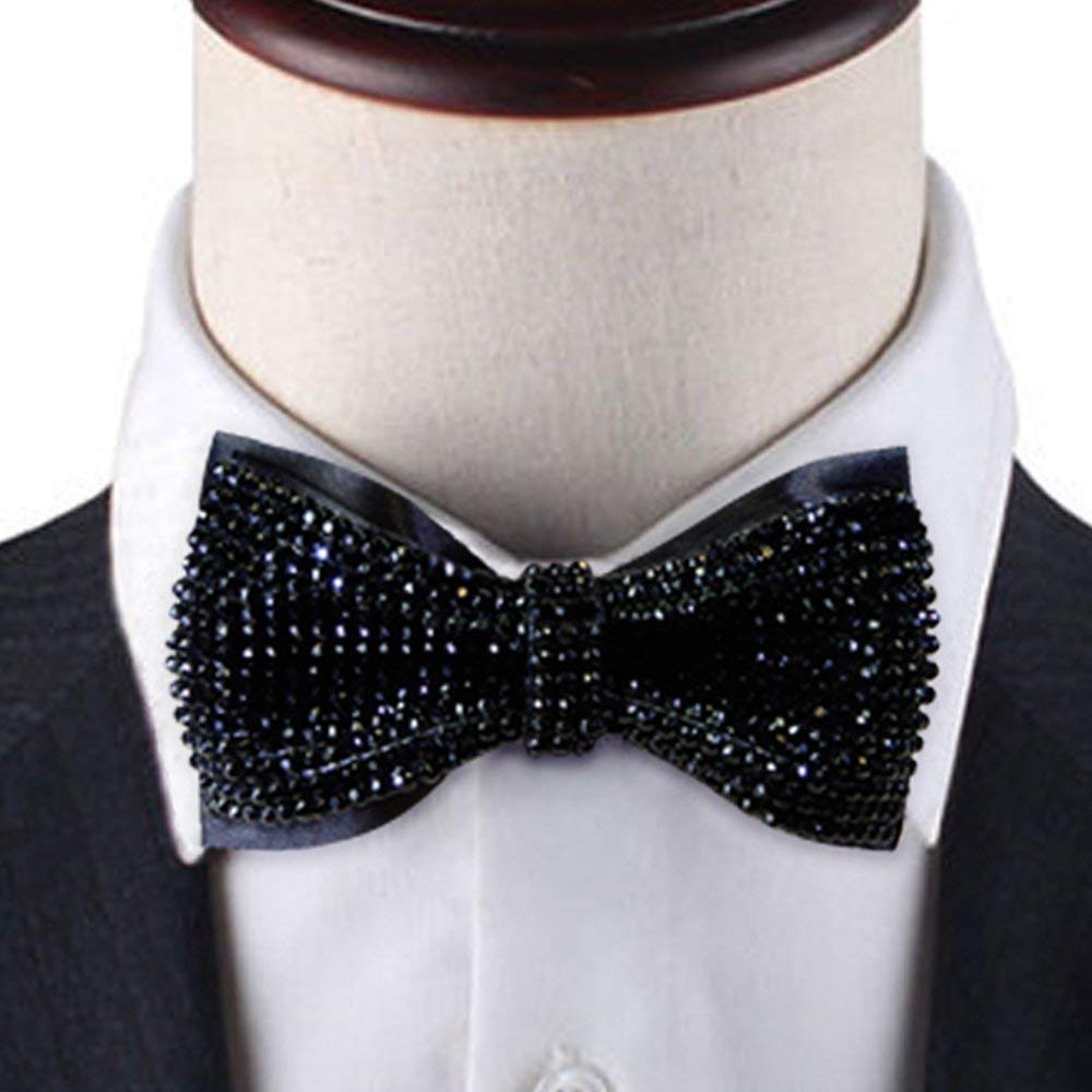 Black Crystal bow tie, 2 layers Rhinestones bow tie,black bow tie, Bling bow tie, bow tie black, black bow tie for ment,