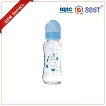 BPA free PP non-toxic silicone infants and kids comfort durable closer to nuture blue 180ml glass baby bottle