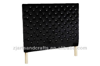 8009 bedroom head board ( birch wood/black velvet fabric/diamond button )