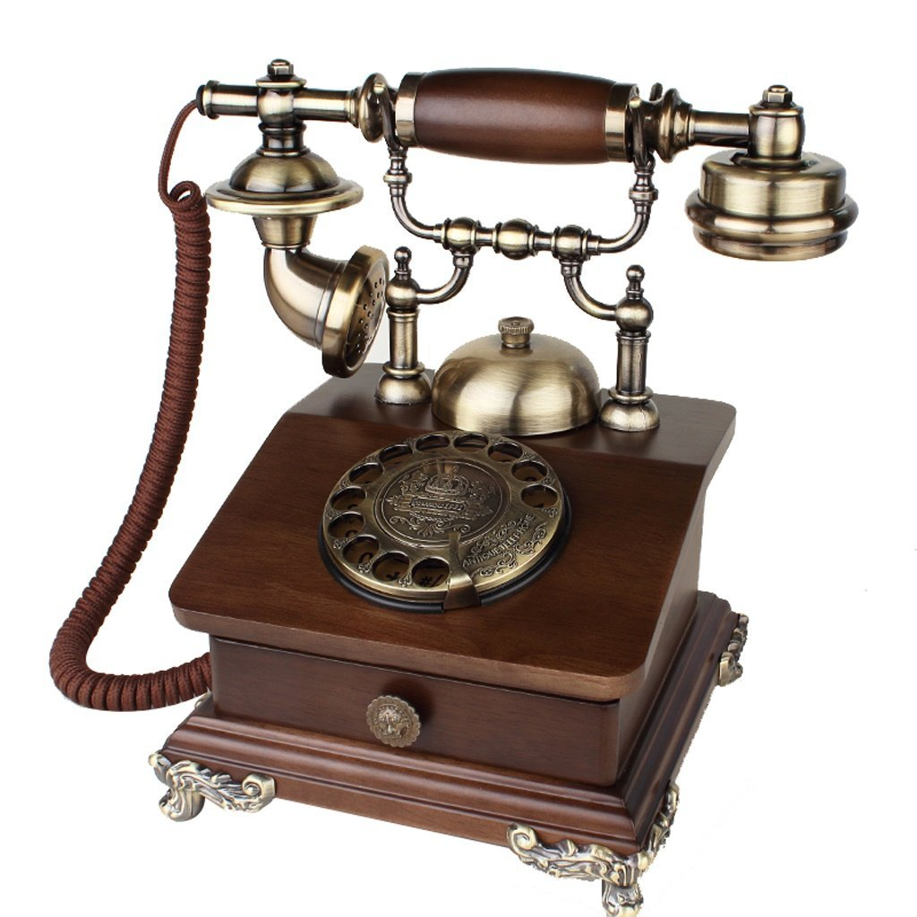 Antique Telephone Solid Wood Continental Pastoral Retro Dial-up Phone Living Room Home Landline (Size : Rotating Section)
