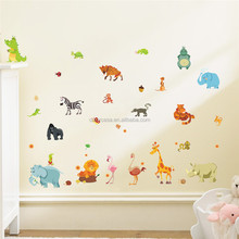 Colorcasa baby room <span class=keywords><strong>wall</strong></span> <span class=keywords><strong>art</strong></span> zoo animal tigre elefante scimmia del fumetto dei capretti sticker (1228)