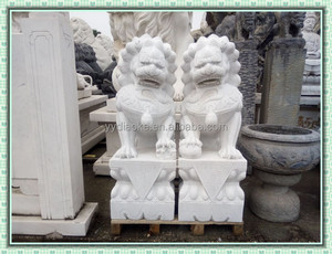 Custom design pure white marble chinese fu dogs statues
