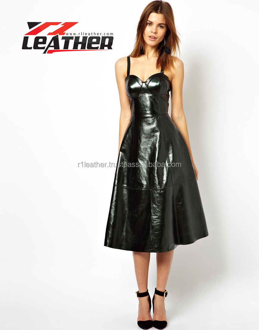 spring and summer wear fashion leather dress