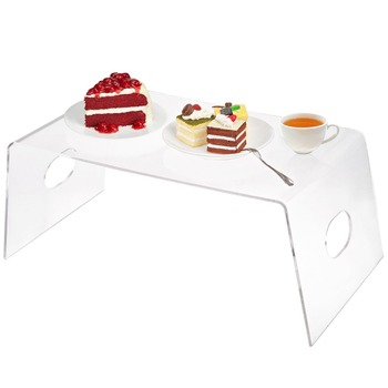 Clear Acrylic Breakfast Serving Tray Acrylic Bed Laptop Tray