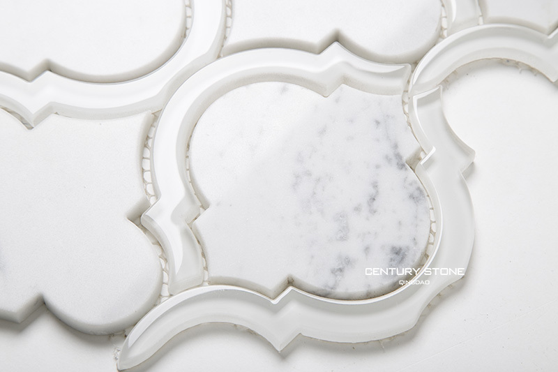 Polished Water Jet Crystal Glass Mix White Carrara Marble