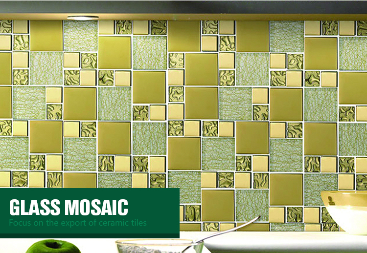 square shape crystal iridescent glass mosaic mural for home electro-plated glass mosaic tile