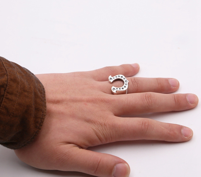 Sterling Silver Unique and Wonderful Horseshoe Wedding <strong>Rings</strong> Men