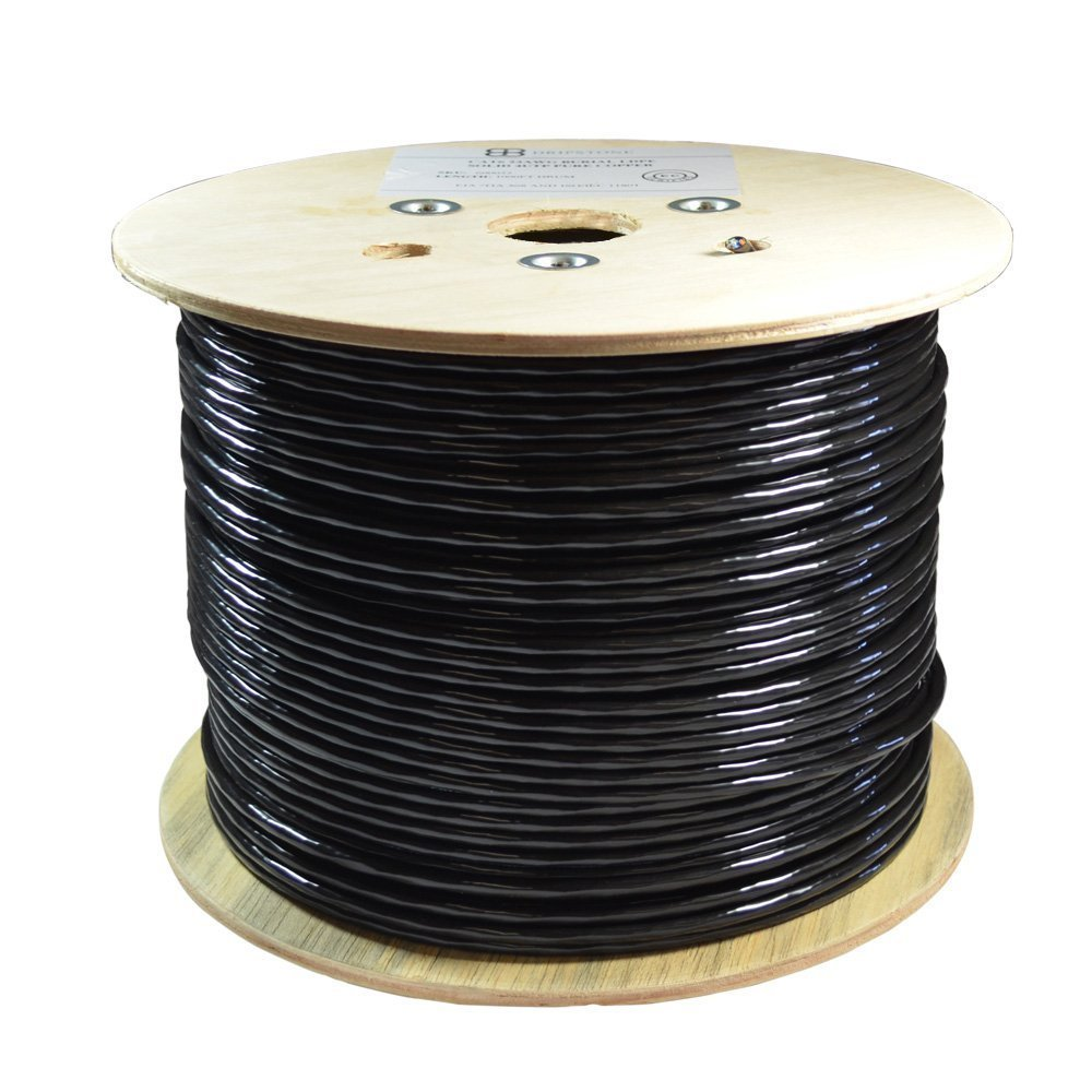 Solid Conductor NavePoint CAT6 Outdoor Gel Filled Direct Burial Rated Bulk Ethernet Cable Black Unshielded Twisted Pair UTP 23AWG 4 Pair 1000ft