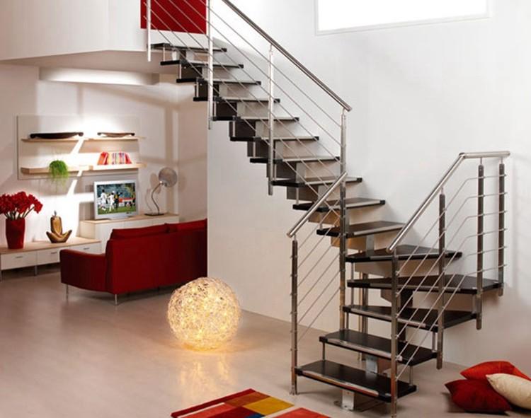 modelos rectos de metal escaleras de madera para