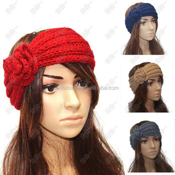 Knit Multiple Colors Headband With Flower Knitted Headband Pattern