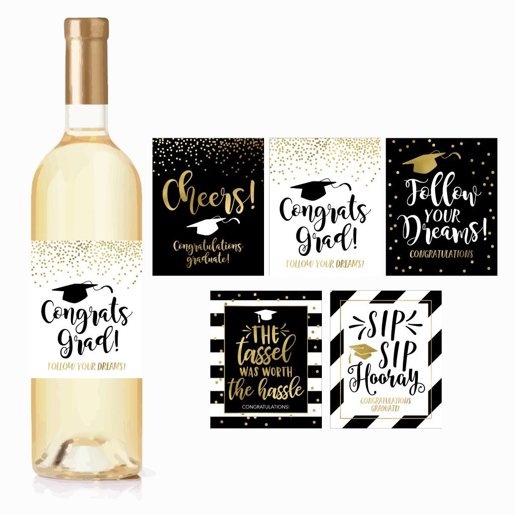 b17d73bf58 Get Quotations · 5 Graduation Gift Wine Labels or Stickers For Men or Women,  Cute Unique Party Decoration
