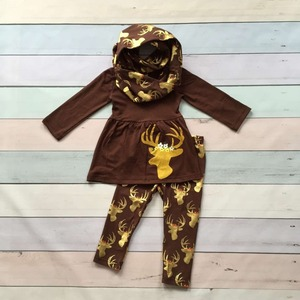 FALL OUTFITS persnickety girls 3 pieces scarf sets baby girls Christmas gold reindeer clothes children boutique X-mas outfits