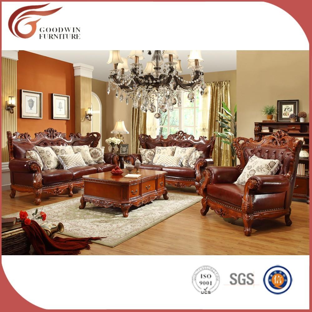 Style classique sculpté à la main en bois massif meubles de salon ...
