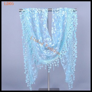 Lace Sheer Metallic Burnt-out Floral Print Triangle Mantilla Scarf Shawl Tassel