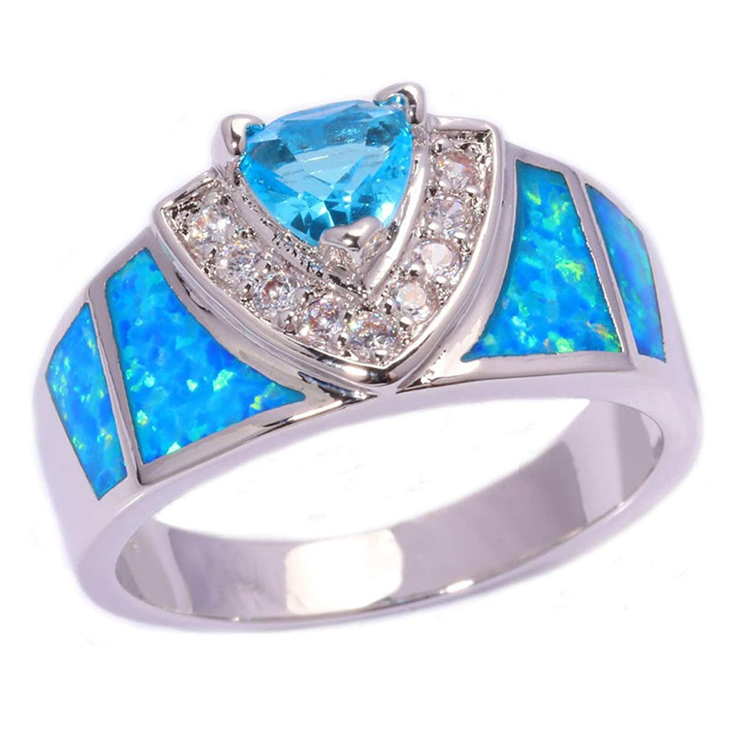 Get Quotations · Rny Jewelry Blue Fire Opal Topaz Wedding Ring For Women Engagement Bridal Rings: Cheap Blue Wedding Rings At Reisefeber.org