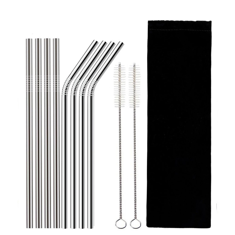 Metal Food Grade 304 Stainless Steel Straws Reusable Straws With Brush And Pouch