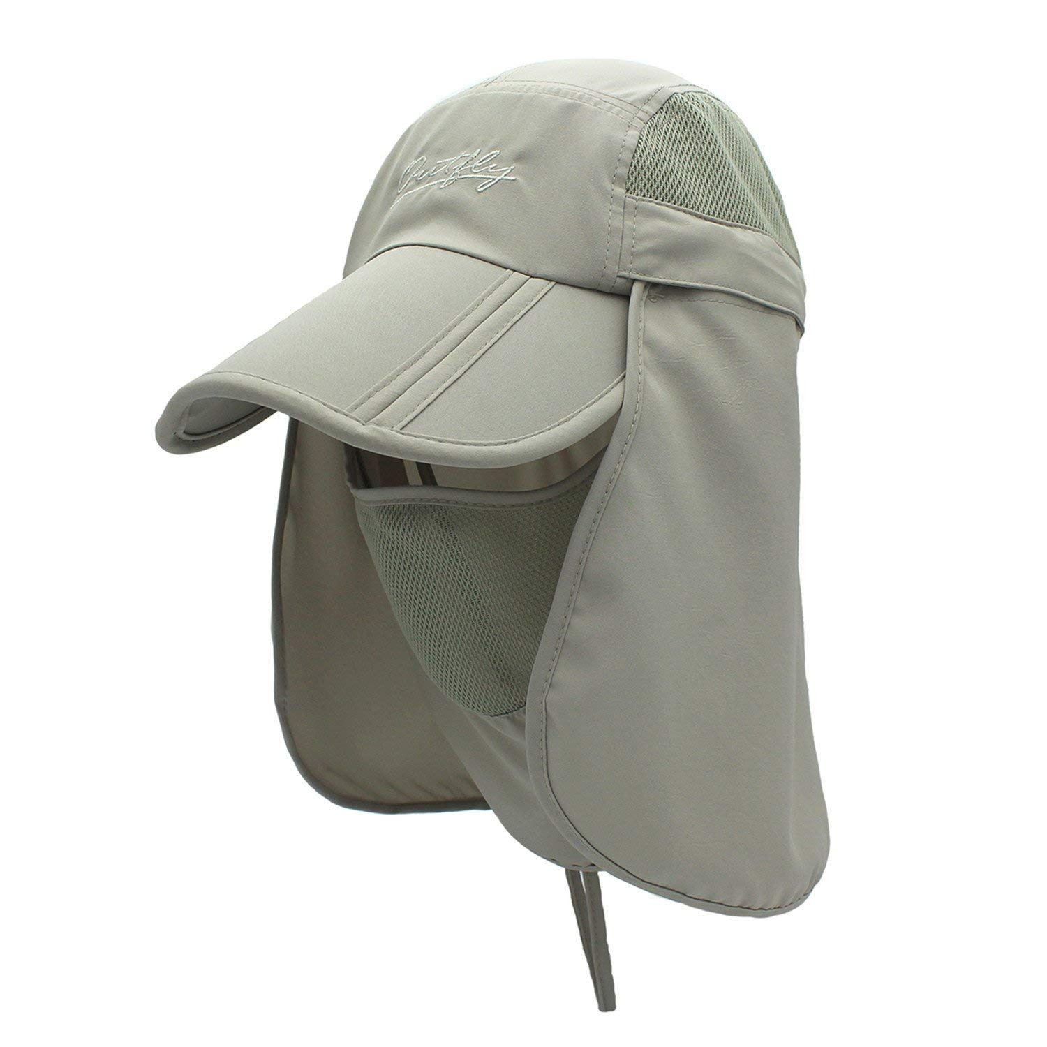 c1740e5e24ab8 Get Quotations · Removable Bucket Hat Breathable Mesh Sun Hat with Neck  Face Flap Camping Safari Hat
