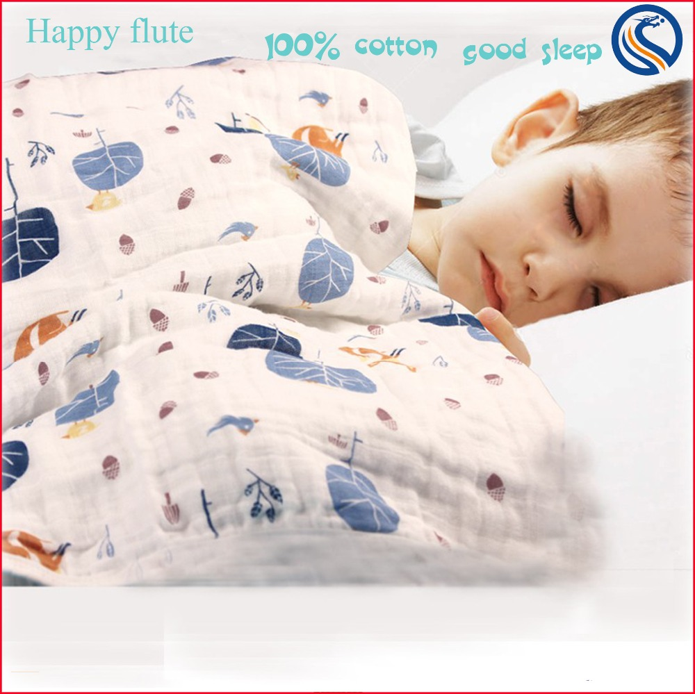 Happy flute 100% Organic cotton Muslin Baby Swaddle Blanket Baby gift