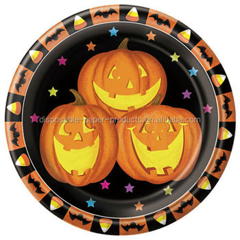 Halloween Party Supplies Halloween Tableware Large 23cm 9inch Disposable Party Paper Plate - Pumpkin  sc 1 st  Alibaba & Halloween Party Supplies Halloween Tableware Large 23cm 9inch ...