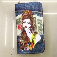 PU leather double zippers women wallet